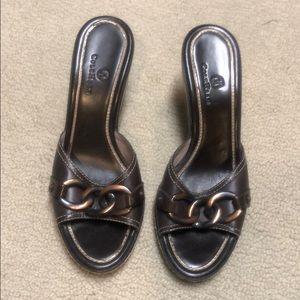 Vintage Cole Haan Wood & Leather Wedge Heels